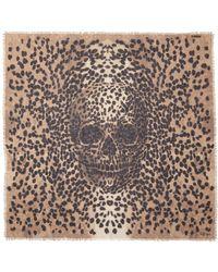 Alexander McQueen Big Skull Leopard Print Cashmere-silk Scarf - Lyst