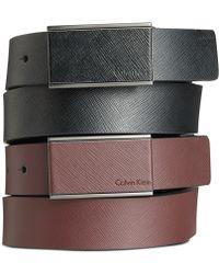 Calvin Klein Saffiano Leather Wrapped Plaque Belt - Lyst