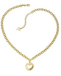Guess - Gold Pendant Necklace - Lyst