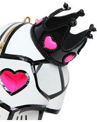Manish Arora Leather Skull Clutch With Crown - Black