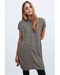 Staring At Stars - Printed Shirt Dress In Khaki - Lyst