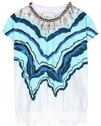 3.1 Phillip Lim Embellished Cotton and Silkblend Top - Lyst