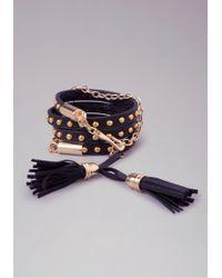 Bebe - Leather Stud Tassel Wrap - Lyst