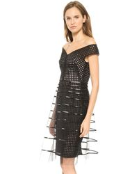 Lela Rose Embroidered Dress with Striped Tulle Overlay Black - Lyst