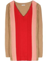 Miu Miu Red Wool Sweater - Lyst