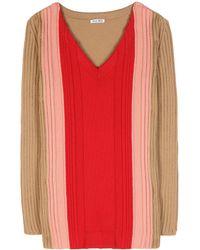 Miu Miu Wool Sweater red - Lyst
