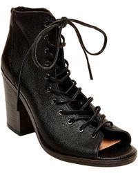 2f6d52119f0 Temptng Leather Lace-up Peep-toe Boots - Black