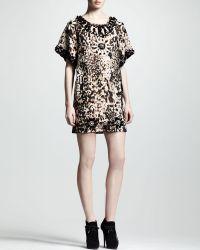 Lanvin Embellished Leopardprint Shift Dress - Lyst
