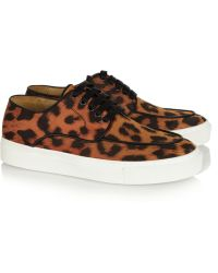 Eugene Riconneaus - Inez Leopard-Print Satin Sneakers - Lyst