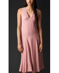 Burberry Dropped Waist Layered Silk Dress - Lyst