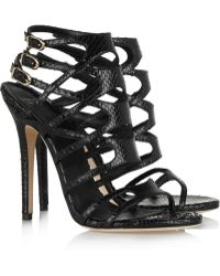 Versace Snake-Effect Leather Sandals - Lyst