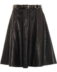 Rika Leather A-line Skirt - Lyst