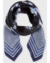 Paul Smith Navy Stripe And Floral Silk Scarf - Lyst