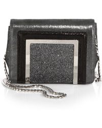 Jimmy Choo Ava Glitter Suede, Patent Leather & LamÉ Mini Shoulder Bag - Lyst