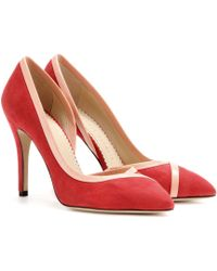 Charlotte Olympia Vamp Suede Pumps - Lyst