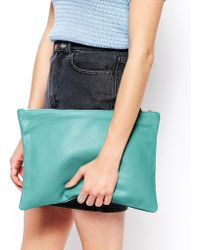 American Apparel - Leather Clutch in Cool Aqua - Lyst