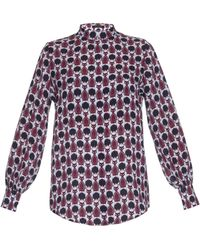 Mother Of Pearl Temple Cat-Print Silk Shirt - Multicolour