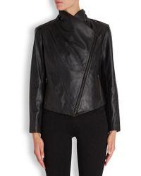 Eileen Fisher - Black Asymmetric Leather Jacket - Lyst