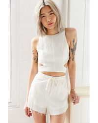 Somedays Lovin Concho River Linen Cropped Top - White