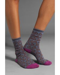 Anna Sui Pop Floral Crew Socks - Blue