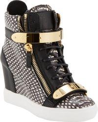 Giuseppe Zanotti Snake-Stamped Wedge Zip Sneakers - Lyst