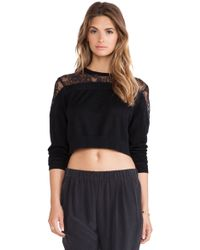 Tibi Cropped Lace Sweater - Lyst