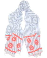 J.Crew | Embroidered Striped Woven Cotton Scarf | Lyst