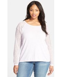 DKNY Sweater With Mesh & Lace - Lyst