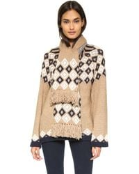 See By Chloé - Cardigan With Scarf - Navy/camel - Lyst