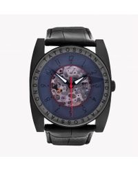 Tateossian | Gulliver Skeleton Watch In Ion Plated Matte Black Finish And Red Detailing | Lyst