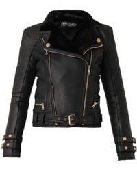 Balmain Leather And Shearling Biker Jacket - Lyst