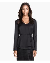 H&M Satin Blouse with Fringes - Lyst