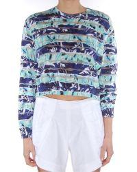 Kenzo Torn Printed Sheer Detail Sweater - Lyst