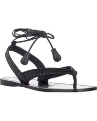 Bottega Veneta Intrecciato-Inset Ankle-Wrap Sandals - Lyst