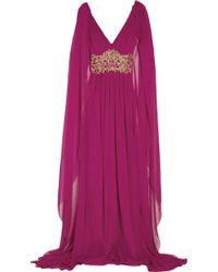 Marchesa Embellished Silkchiffon Capeback Gown - Lyst