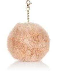River Island Pink Faux Fur Pom Pom Keyring - Lyst