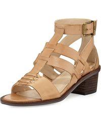 Elliott Lucca - Lena Block-Heel Leather Sandal - Lyst