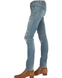 Saint Laurent 15cm Destroyed Stretch Denim Jeans - Blue