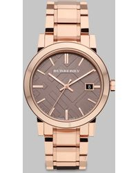 Burberry Check Stamped Stainless Steel Watch pink - Lyst
