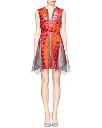 Peter Pilotto 'Phoenicia' Perspex Appliqué Lace V-Neck Dress - Lyst