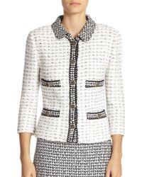 St. John Contrast-Knit Jacket - Lyst