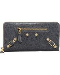 Balenciaga Giant Golden Continental Zip Wallet Gris Tarmac - Lyst