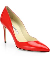 Brian Atwood Patent Leather Point Toe Pumps - Lyst