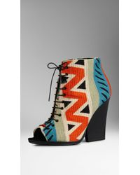 Burberry Tapestry Peep-Toe Ankle Boots - Multicolour