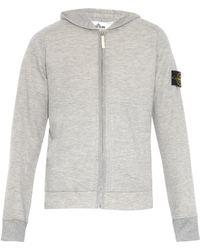 Stone Island Melange Hooded Zip-Up Sweatshirt - Lyst