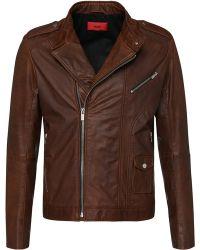 HUGO Slim Fit Biker Jacket In Leather: 'lonn' - Brown