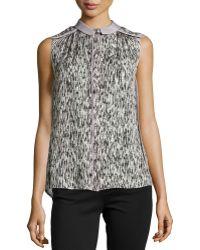Halston Heritage Cap-sleeve Abstract Print Silk Top - Lyst