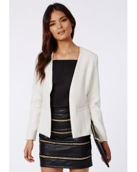 Missguided Amander Collarless Cropped Back Tailored Blazer White - Lyst