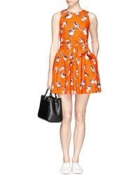 MSGM Prism Robin Print Dress orange - Lyst