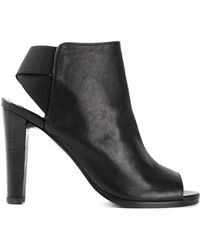 Stuart Weitzman Peep Toe Chunky Heel Sandals - Lyst